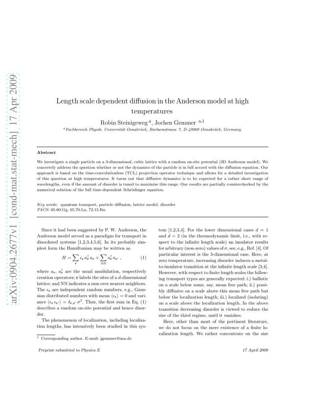 Robin Steinigeweg - Length scale dependent diffusion in the Anderson model at high temperatures