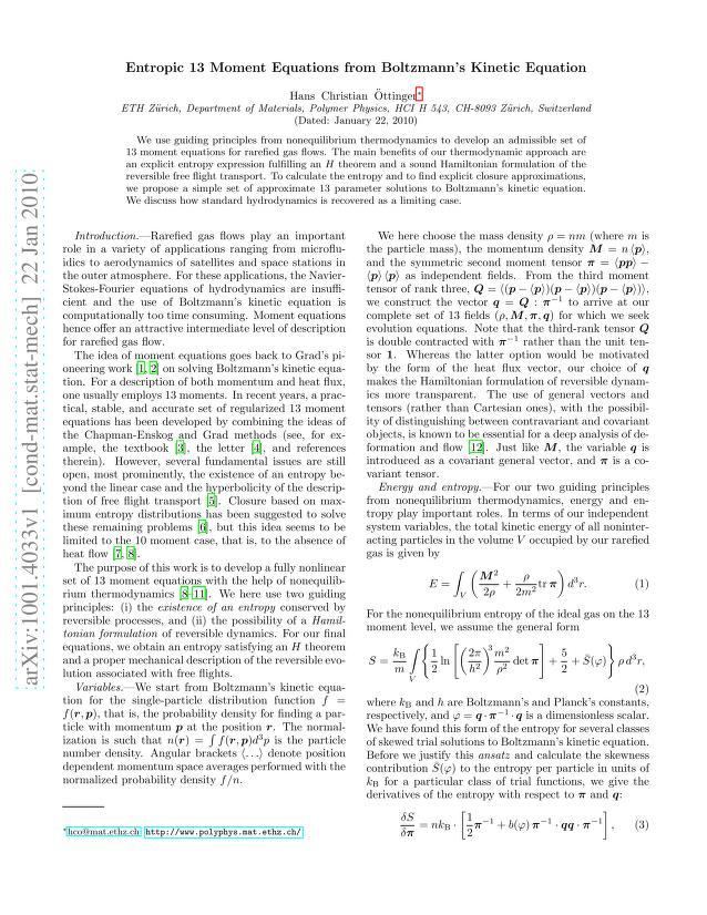 Hans Christian Öttinger - Entropic 13 Moment Equations from Boltzmann's Kinetic Equation
