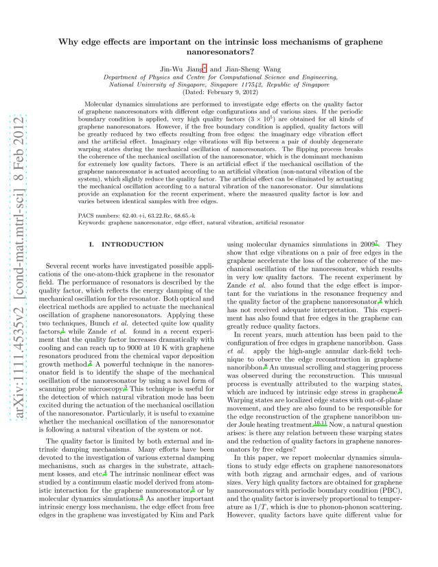 Jin-Wu Jiang - Why edge effects are important on the intrinsic loss mechanisms of graphene nanoresonators?
