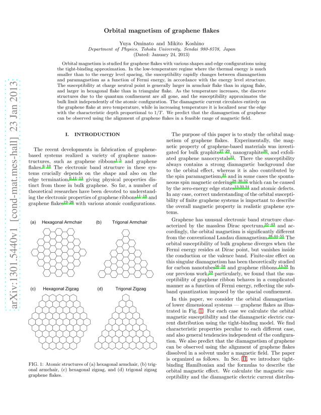 Yuya Ominato - Orbital magnetism of graphene flakes