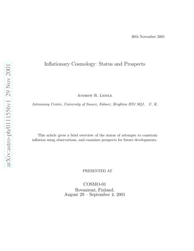 Andrew R Liddle - Inflationary Cosmology: Status and Prospects
