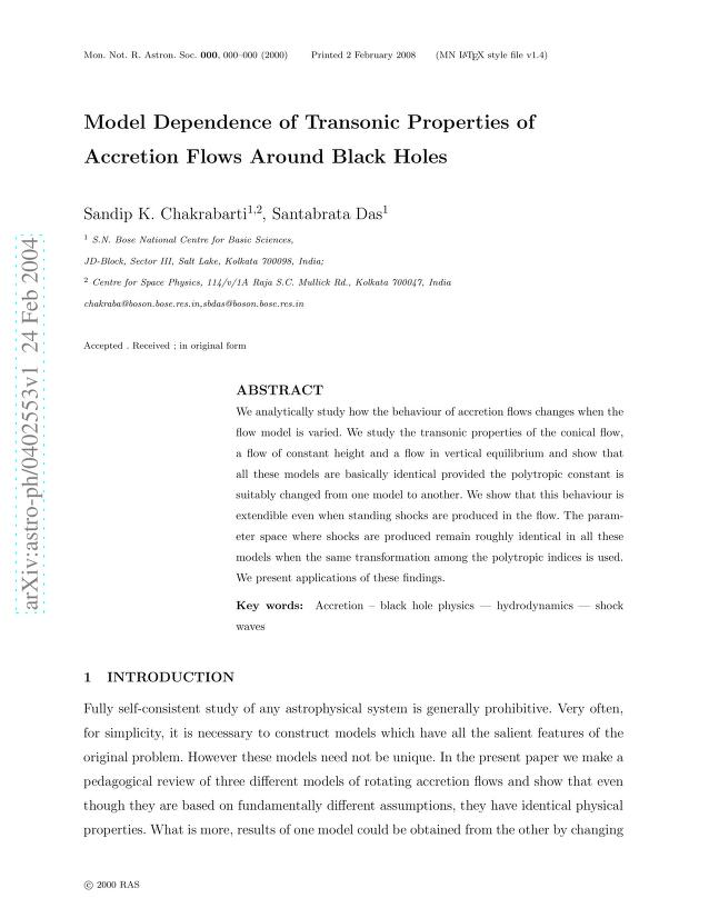 S. K. Chakrabarti - Model Dependence of Transonic Properties of Accretion Flows Around Black Holes
