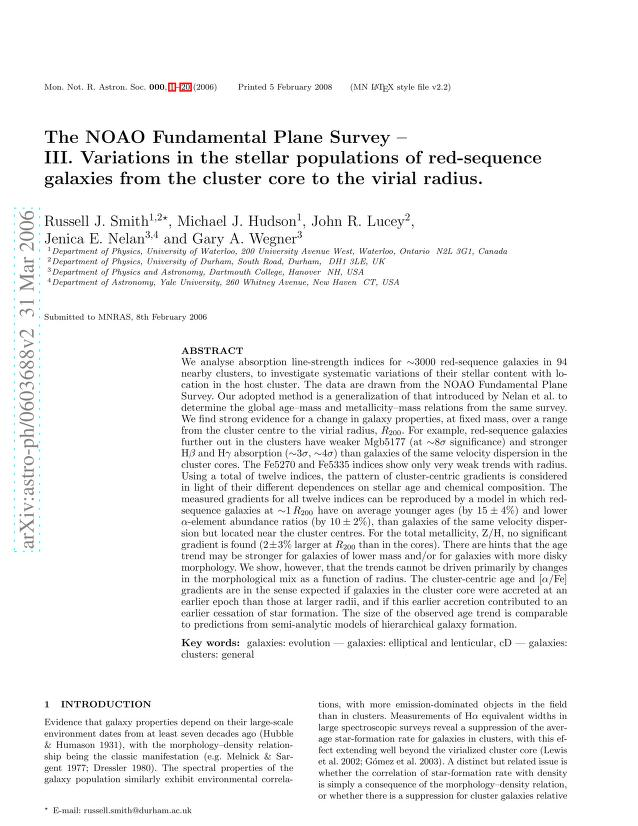 Russell J. Smith - The NOAO Fundamental Plane Survey - III. Variations in the stellar populations of red-sequence galaxies from the cluster core to the virial radius