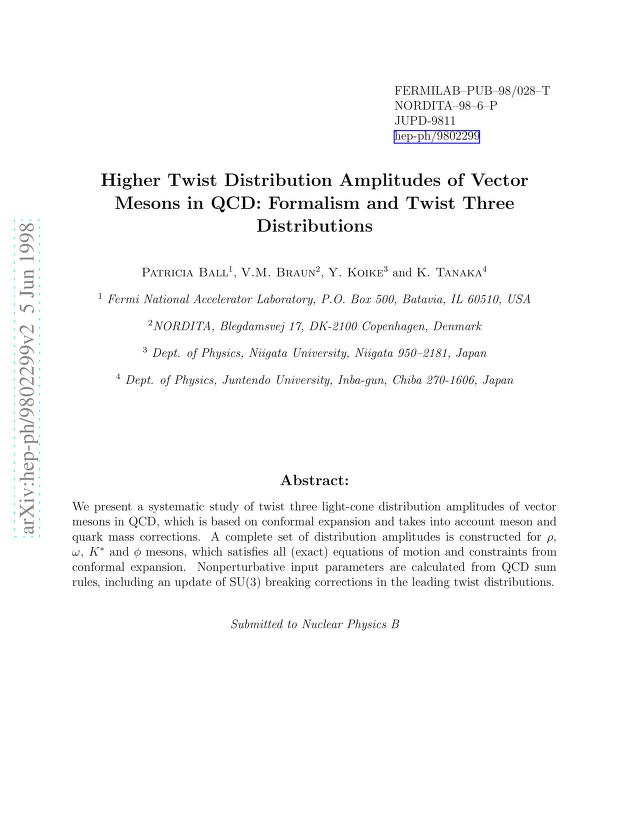 Patricia Ball - Higher Twist Distribution Amplitudes of Vector Mesons in QCD: Formalism and Twist Three Distributions